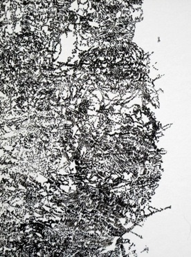 Detail image of intricate work in Indian ink on paper